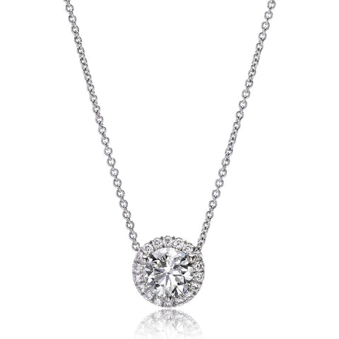 14K White Gold Diamond Halo Pendant