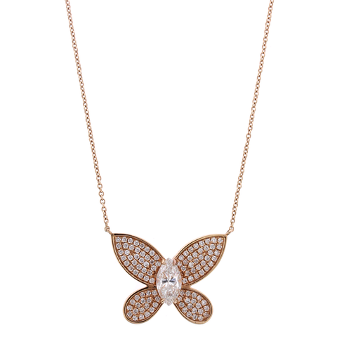 18K Rose Gold Pave Diamond Butterfly Pendant