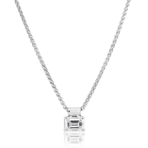 18K White Gold Emerald Cut Solitaire Diamond Pendant