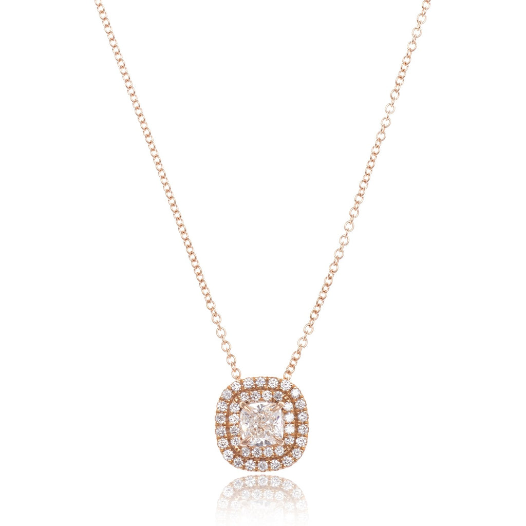 18K Rose Gold Cushion Diamond Double Halo Pendant
