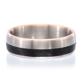 18K White & Rose Gold 6mm Satin Finish Band with Polished Edges