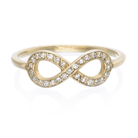 14K Yellow Gold Infinity Diamond Pave Ring