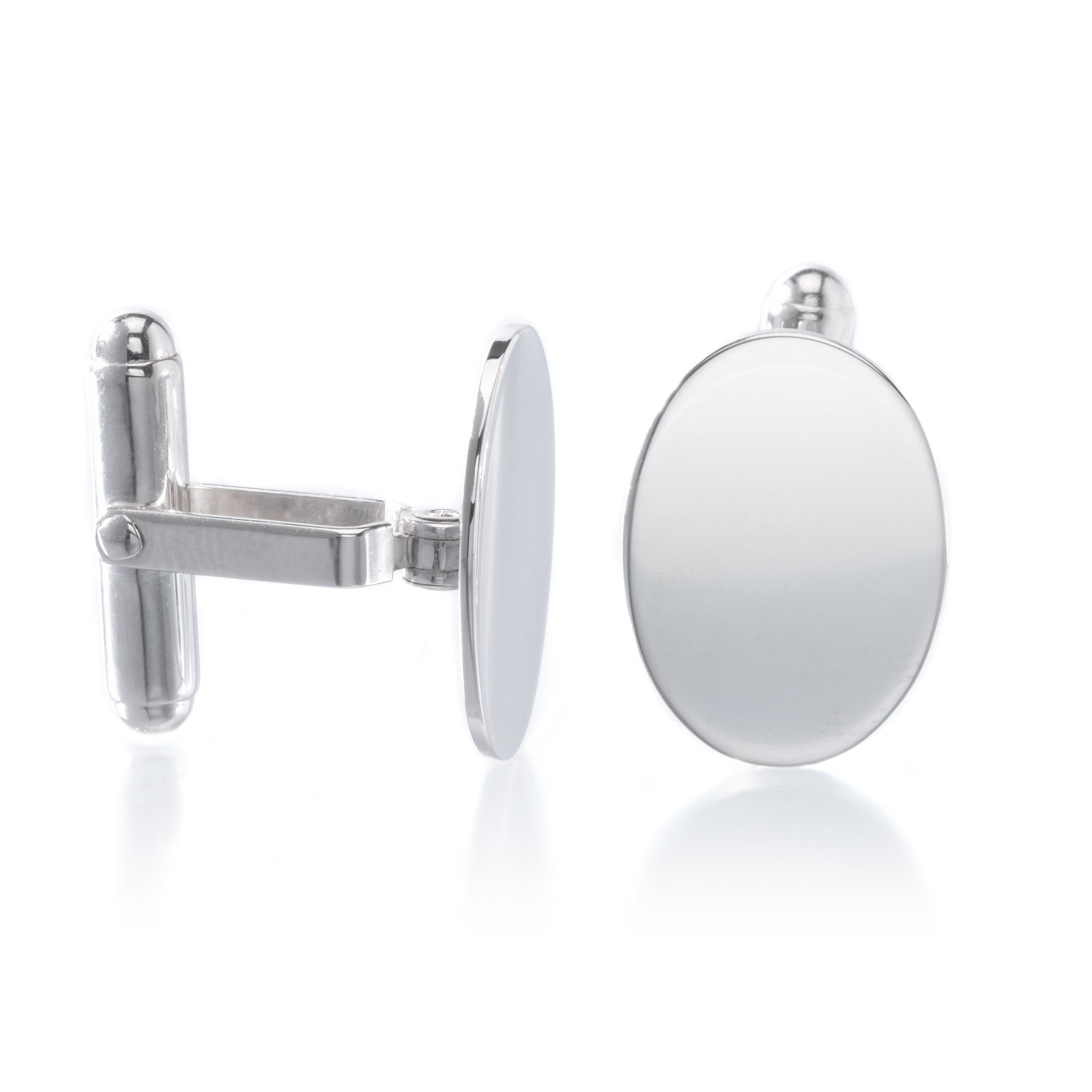 Sterling Silver Oval Polished Cufflinks