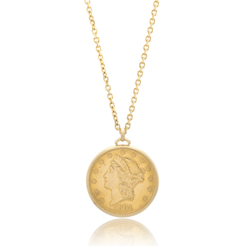 18K Yellow Gold $20 Gold 1904 Coin Necklace