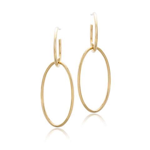 14K Yellow Gold Double Drop Earrings