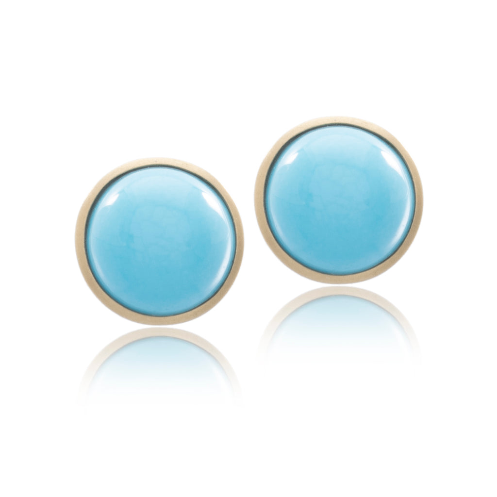 18K Yellow Gold Round Turquoise Bezel Stud Earrings