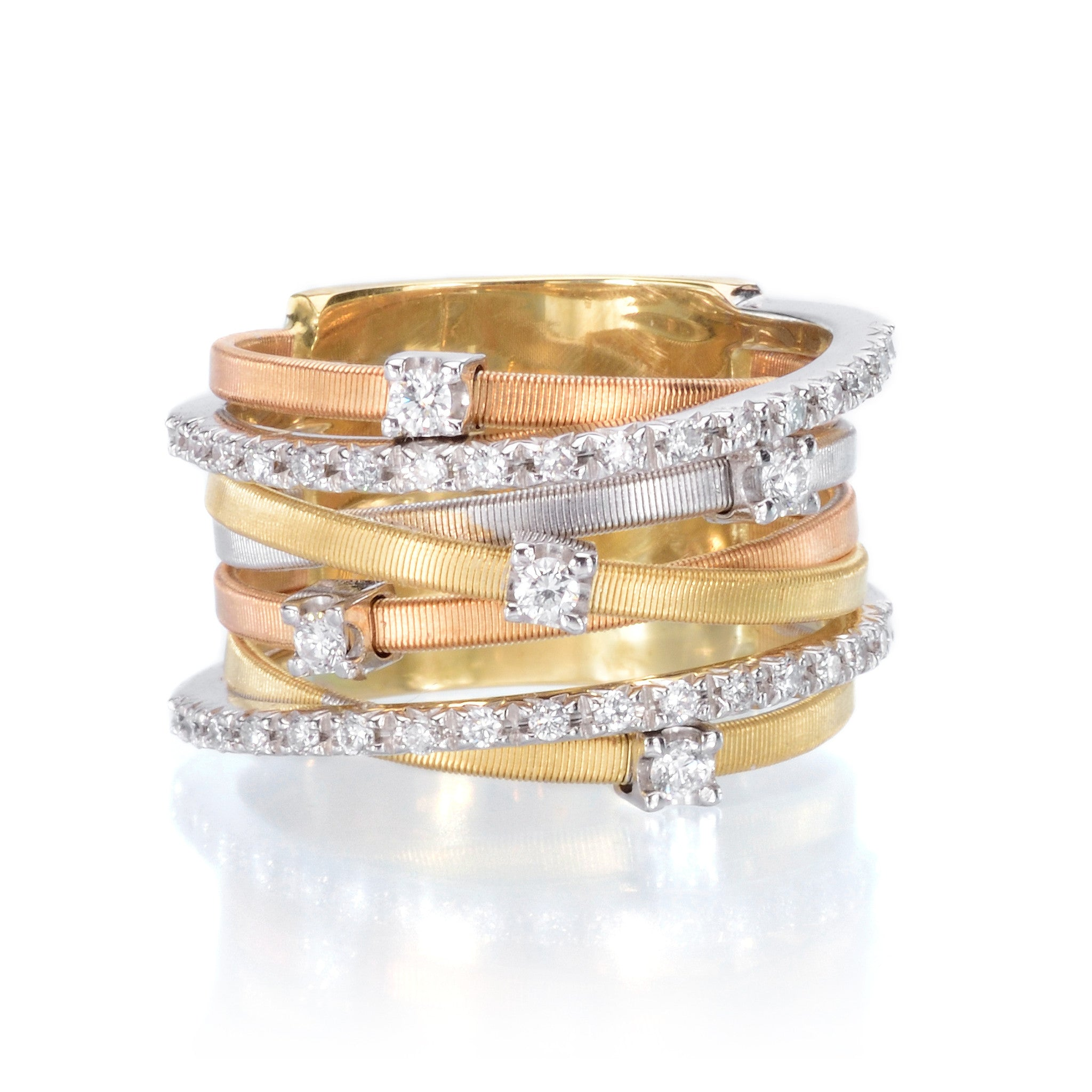 Goa 18K Yellow, White, and Rose Gold Seven Strand Ring with Diamonds