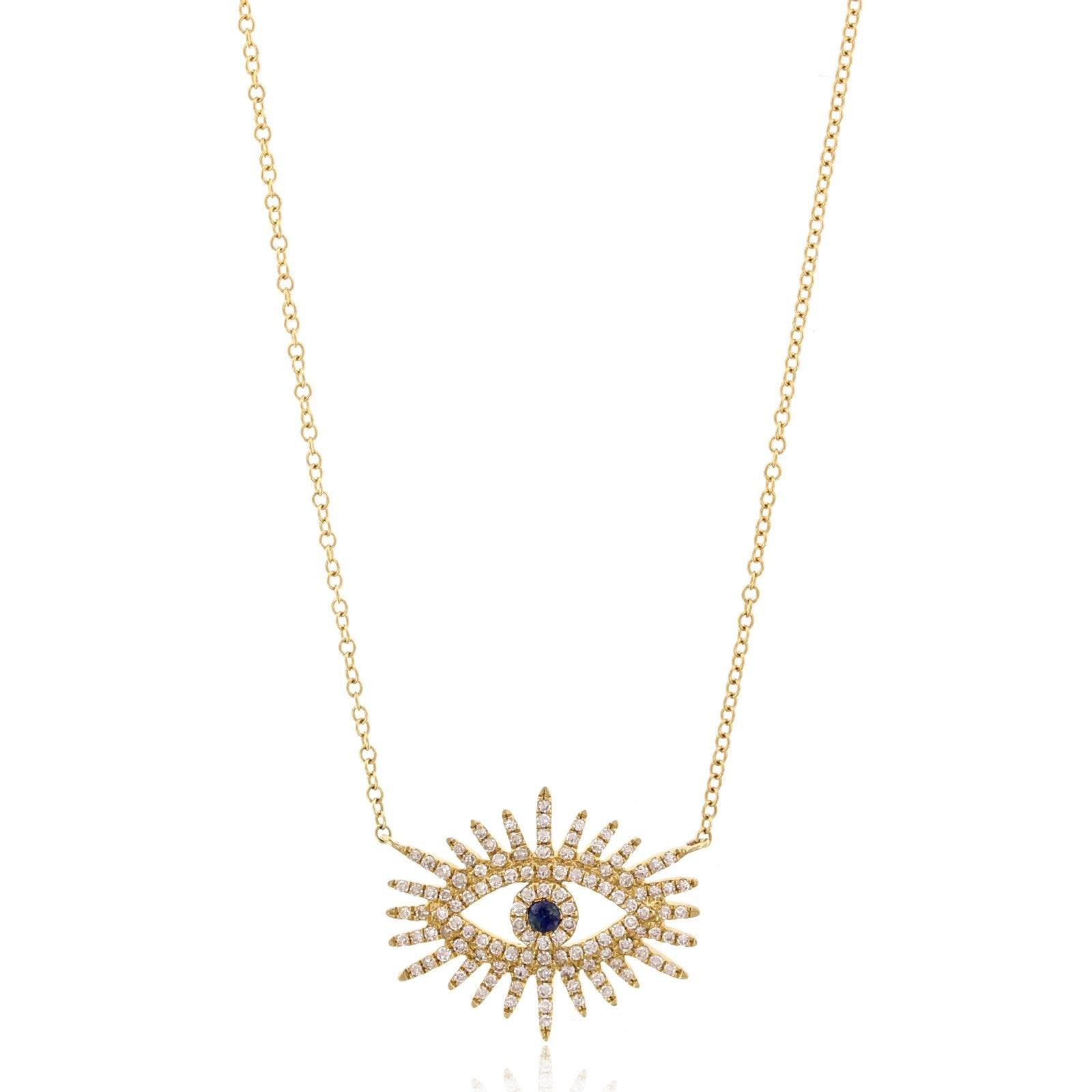 14K Yellow Gold Diamond Starburst Eye Necklace