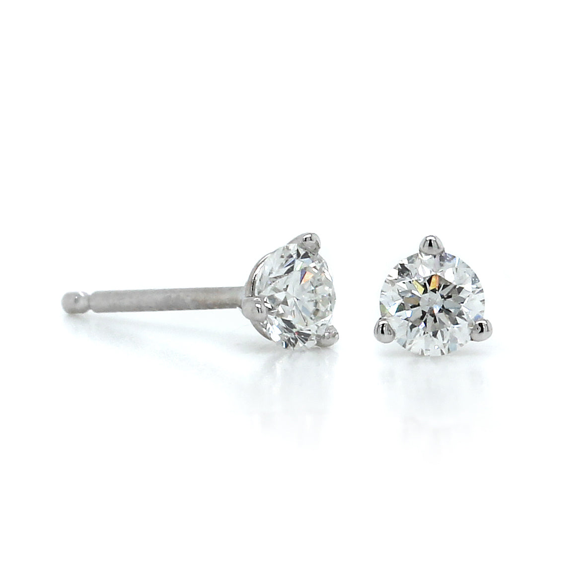 14K White Gold .33CTW Diamond Stud Earrings