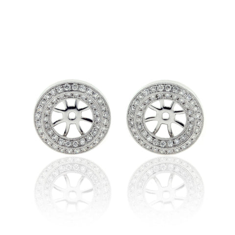 14K White Gold Diamond Ear Jackets