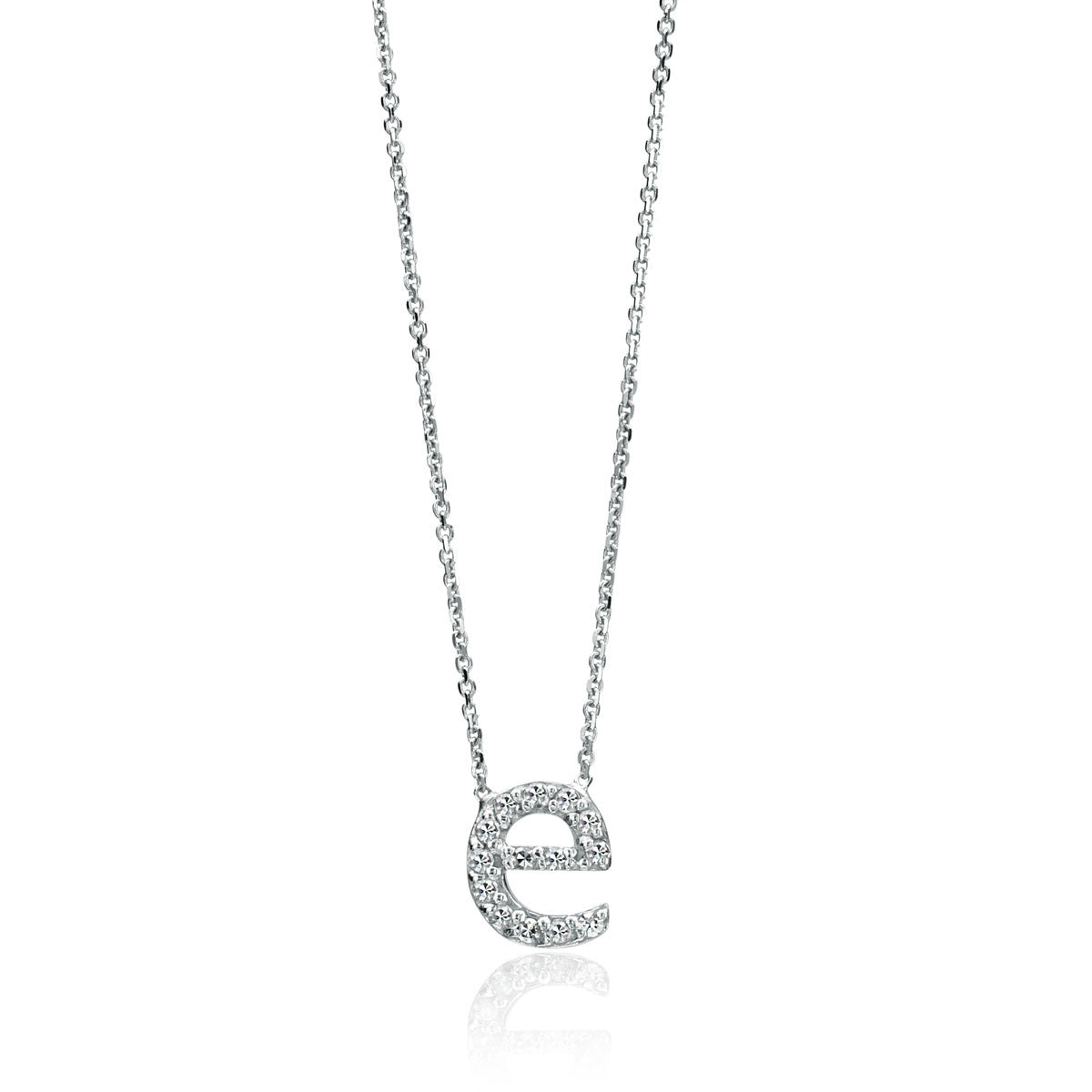 "14K White Gold Pave Diamond Initial ""e"" Pendant"