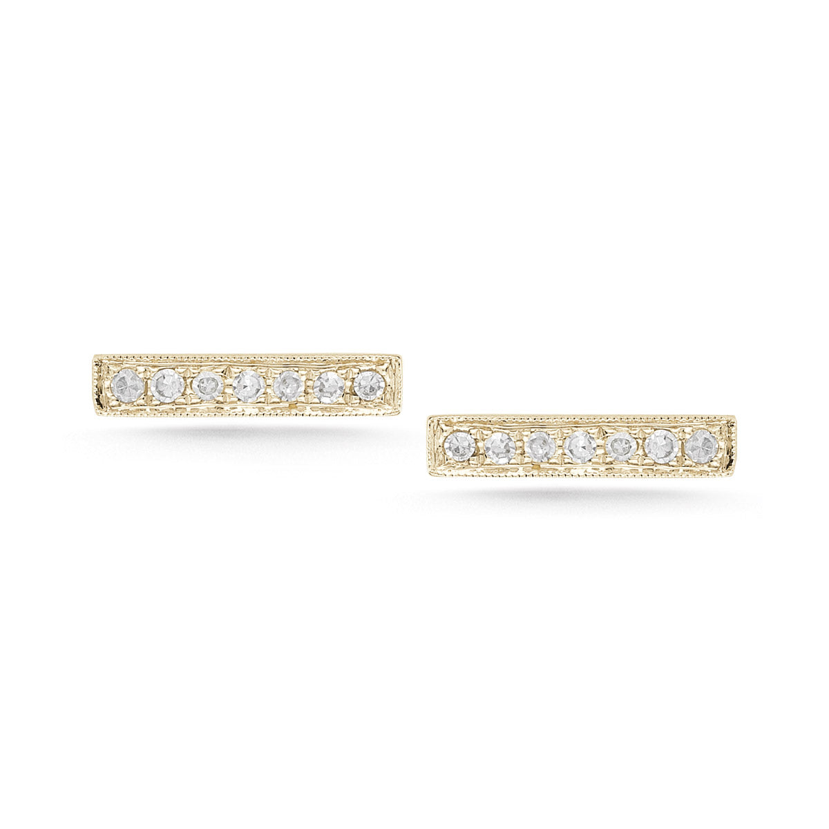 14K Yellow Gold Sylvie Rose Diamond Bar Stud Earrings
