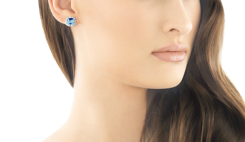 Classic Chain Stud Earring with Blue Topaz