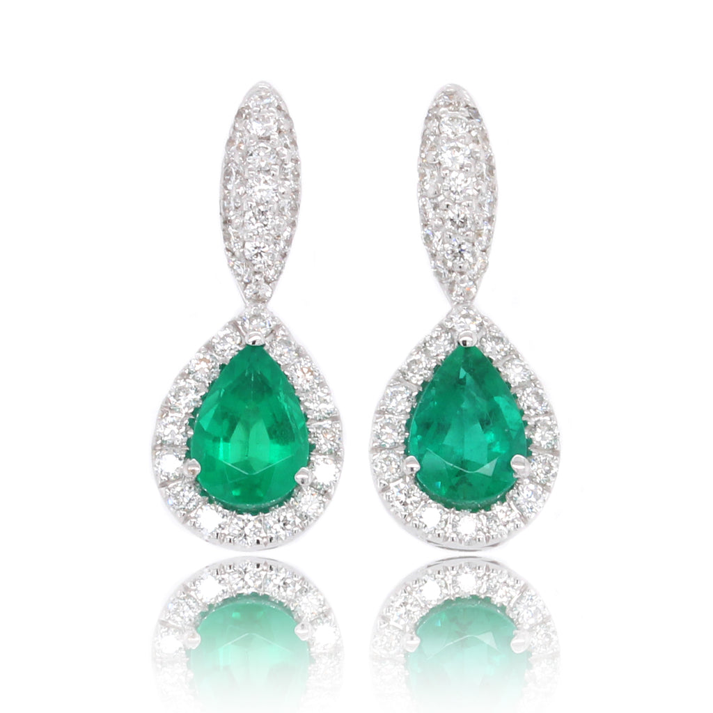 14K White Gold Pear Emerald and Diamond Halo Earrings