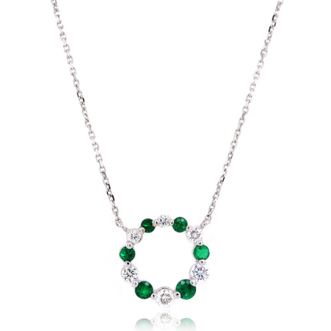 14K White Gold Emerald and Diamond Circle Necklace
