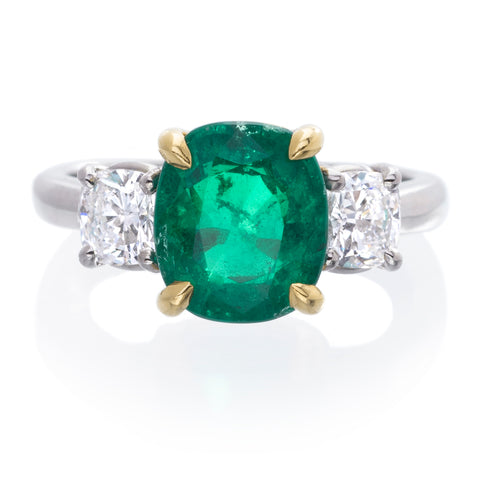 Platinum and 18K Yellow Gold Cushion Cut Emerald and Diamond Ring