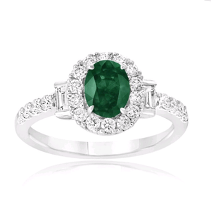18K White Gold Oval Emerald and Diamond Ring
