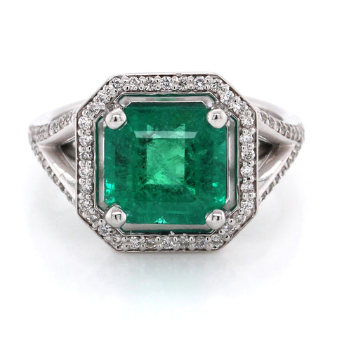 14K White Gold Emerald and Diamond Halo Split Shank Ring