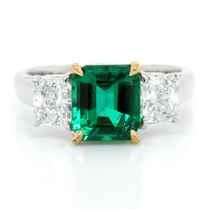 Platinum and 22K Yellow Gold Emerald and Diamond Ring
