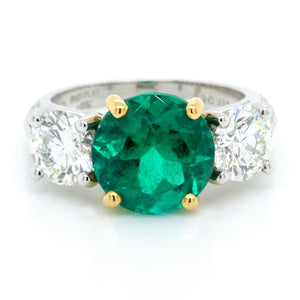 Platinum and 18K Yellow Gold Round Emerald and Diamond Ring
