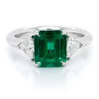 Platinum Emerald and Diamond Trillion Three-Stone Ring