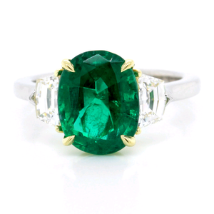 Platinum Oval Emerald Diamond Ring