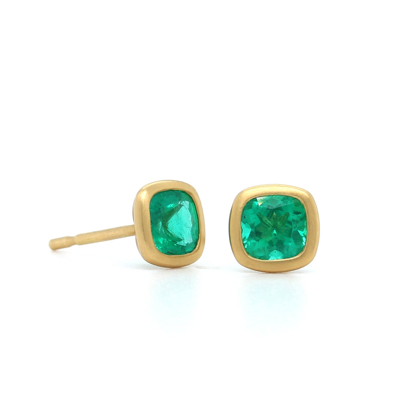 18K Yellow Gold Cushion Emerald Studs