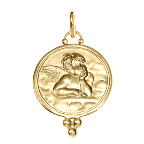 18K Yellow Gold Angel Pendant