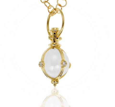 18K Yellow Gold Classic Amulet with Round Rock Crystal and Diamond