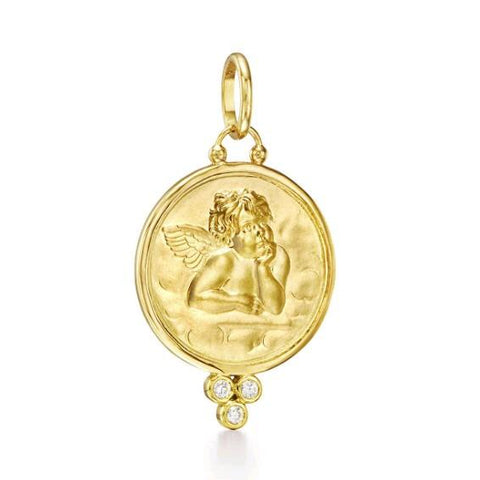 18K Yellow Gold Angel Diamond Pendant