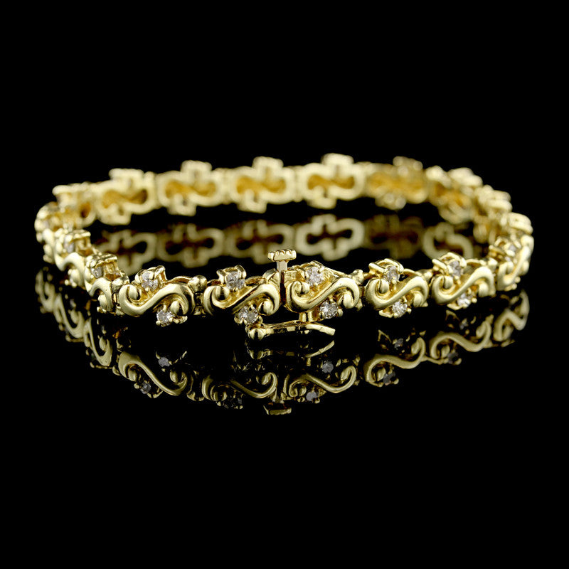14K Yellow Gold Diamond Line Bracelet
