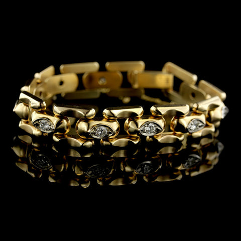 14K Yellow Gold Diamond Brick Link Bracelet