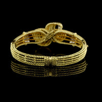 18K Yellow Gold Basketweave Bangle with Diamonds
