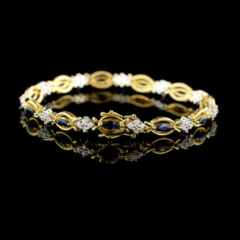 18K Two-Tone Sapphire and Diamond Bracelet