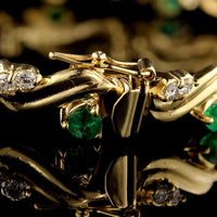 14K Yellow Gold Emerald and Diamond Bracelet
