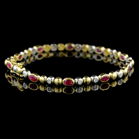 18K Two-Tone Gold Ruby and Diamond Bracelet