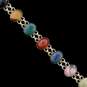 14K Yellow Gold Multicolor Scarab Bracelet