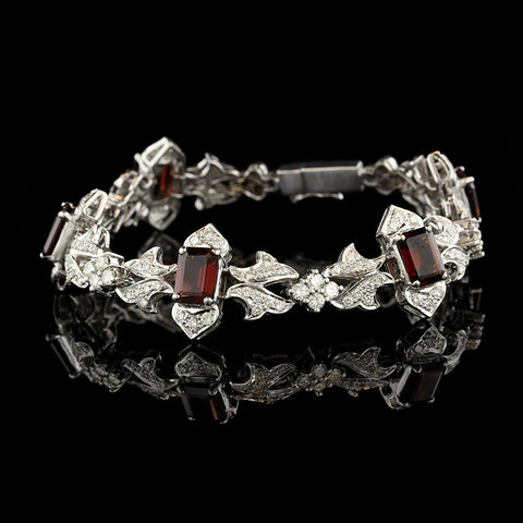 18K White Gold Garnet and Diamond Bracelet