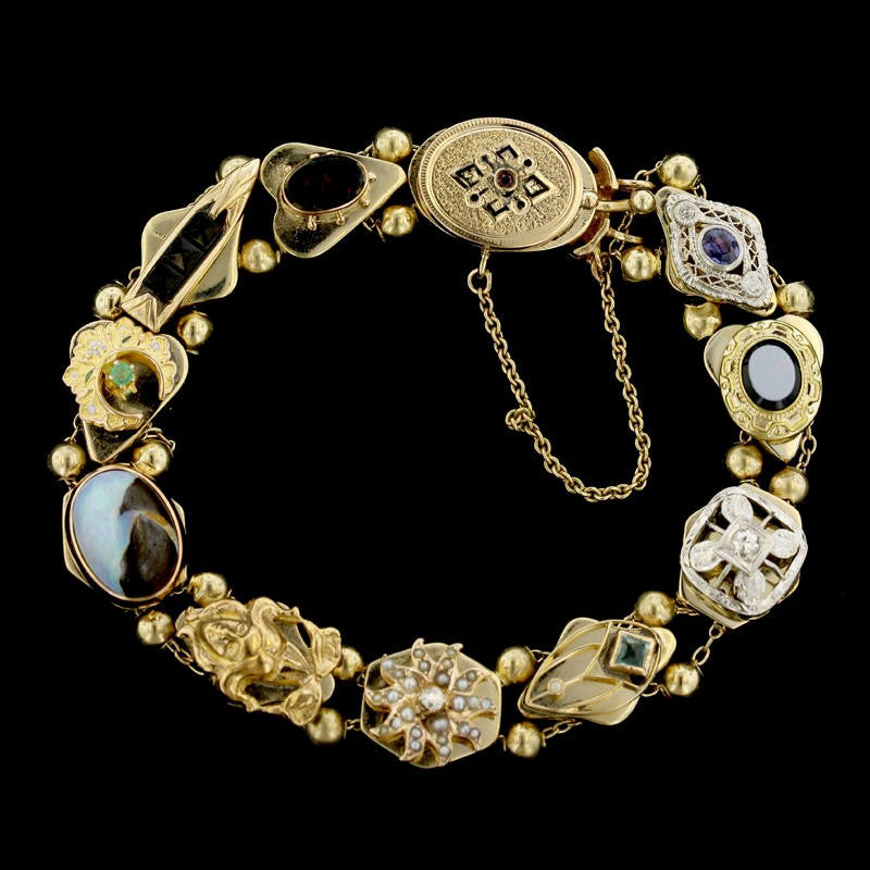 Vintage 14K Yellow Gold Gem-set Slide Charm Bracelet