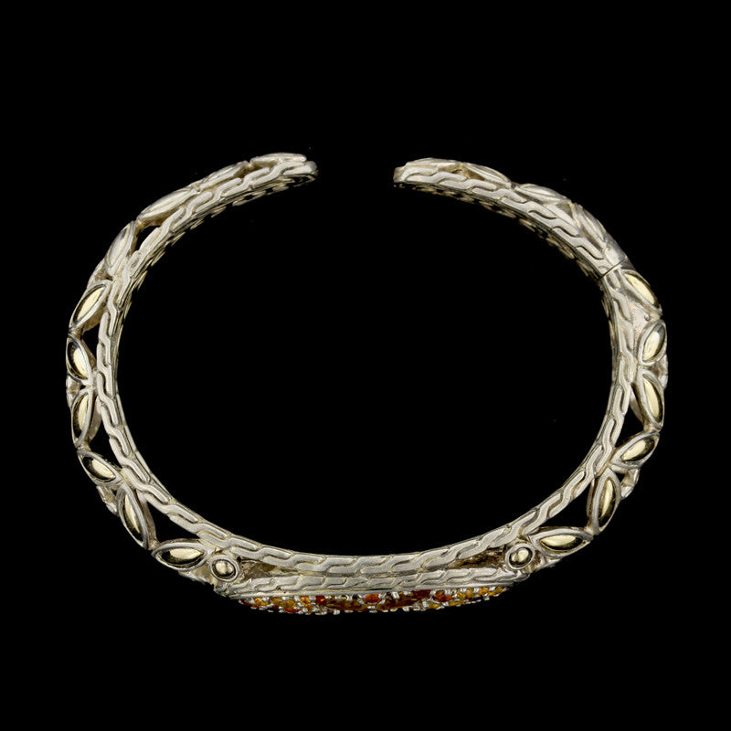 John Hardy Sterling Silver and 18K Yellow Gold Batu Kawung Sunset Colorway Cuff Bracelet