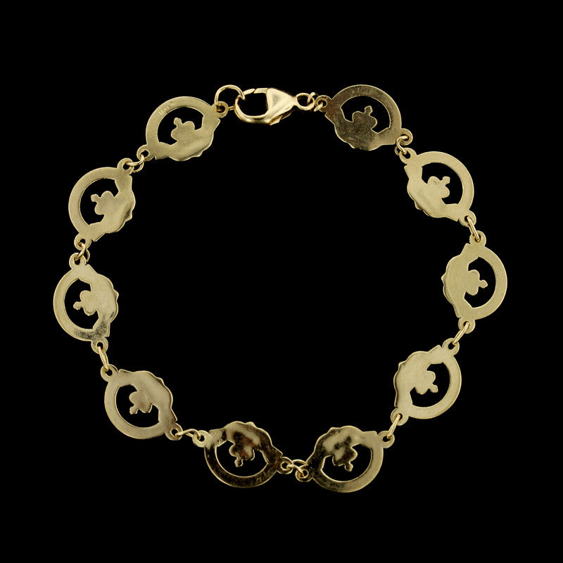 14K Yellow Gold Estate Claddagh Bracelet