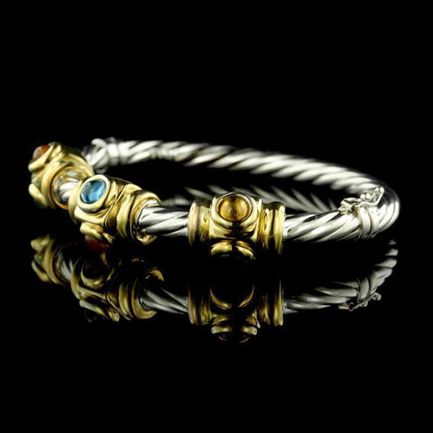 14K Two-Tone Gold Citrine and Blue Topaz Bangle