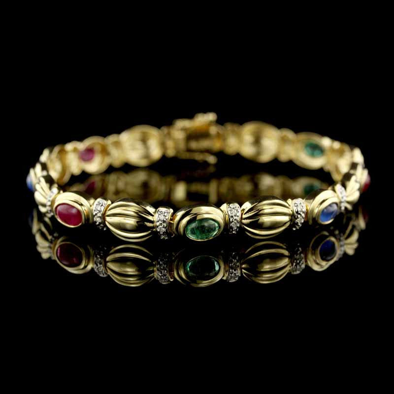 14K Yellow Gold Mutli Color Stone Bracelet