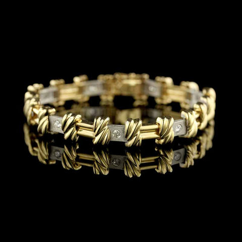 14K Two-Tone Gold Diamond Bracelet