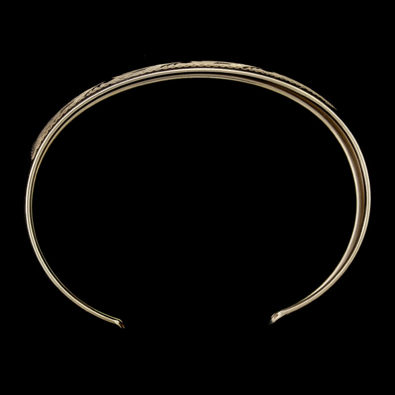 14K Yellow Gold Etched Cuff Bracelet