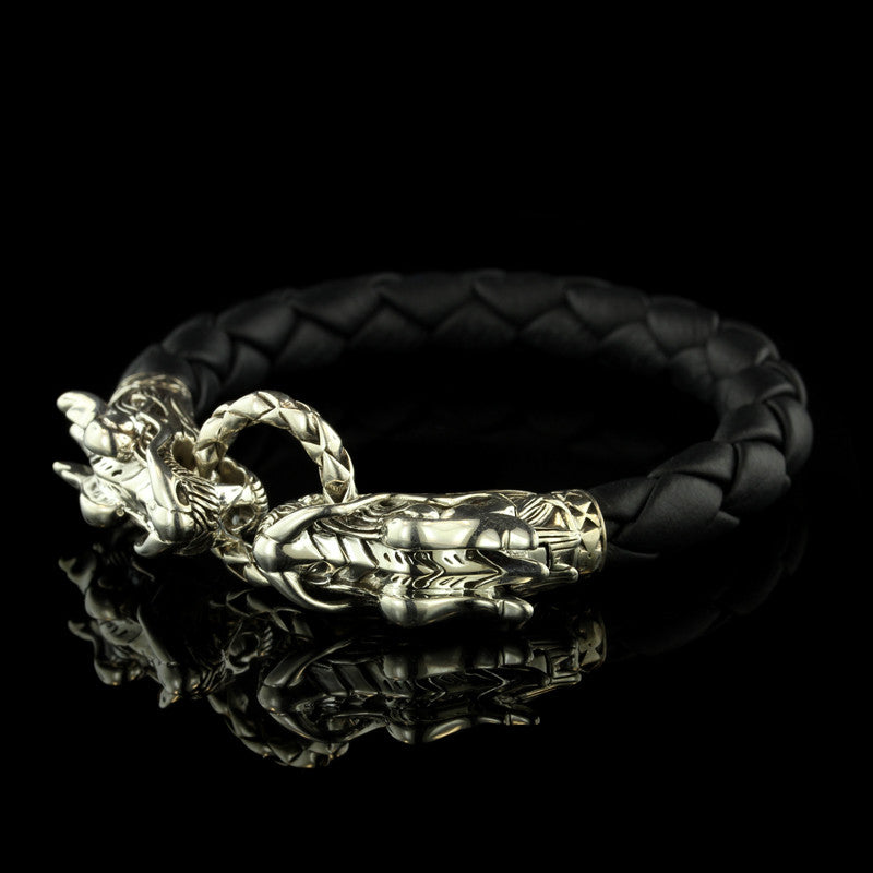 John Hardy Sterling Silver Black Leather Naga Bracelet