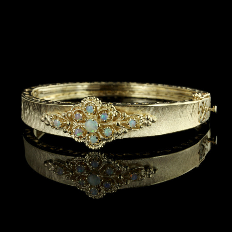 14K Yellow Gold Opal Bangle