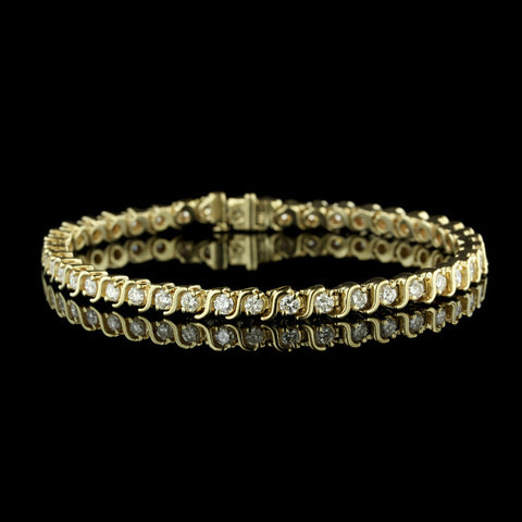 14K Yellow Gold S Link Tennis Bracelet