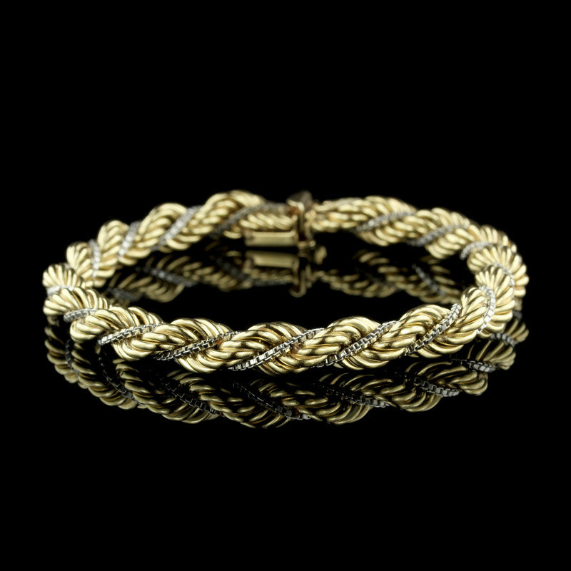 14K Two-Tone Gold Rope Bracelet