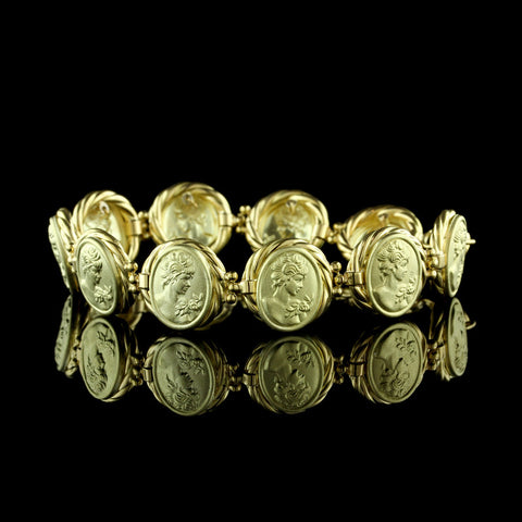 18K Yellow Gold Cameo Bracelet